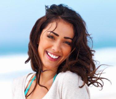 brunette smiling